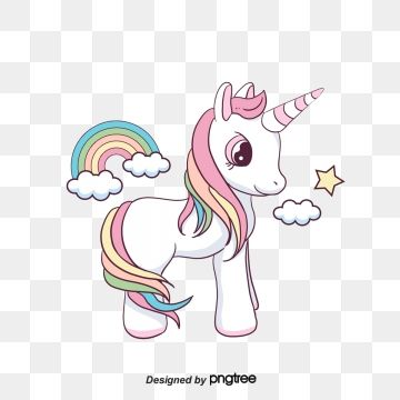 Flaky Clouds Creative Animal Cartoon Lovely Color Rainbow Hand Painted Stars Unicorn Fairy Tale Unicorn Images Cartoon Clip Art Unicorn Illustration