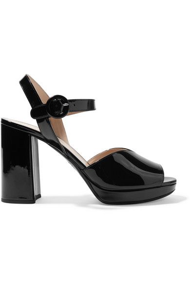 Prada 95 Patent Leather Platform Sandals Net A Porter Com Leather Platform Sandals Platform Sandals Patent Leather