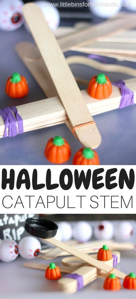 Halloween popsicle stick STEM activity for easy Halloween science experiments and STEM activities. Candy pumpkin activity with popsicle sticks and rubber bands to explore kids physics activities with a Halloween theme. Halloween Science, Halloween Activities For Kids, Activities For Teens, Autumn Activities, Stem Activities, Easy Halloween, Halloween Crafts, Halloween Decorations, Halloween Costumes