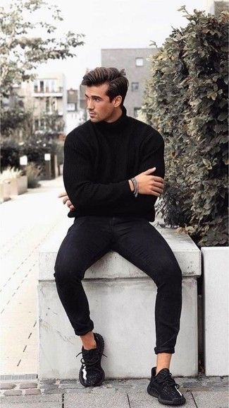 A black turtleneck and black skinny jeans are a combo that every sharp gentleman should have in his casual arsenal. Black athletic shoes will add a whole new dimension to an otherwise sober ensemble.