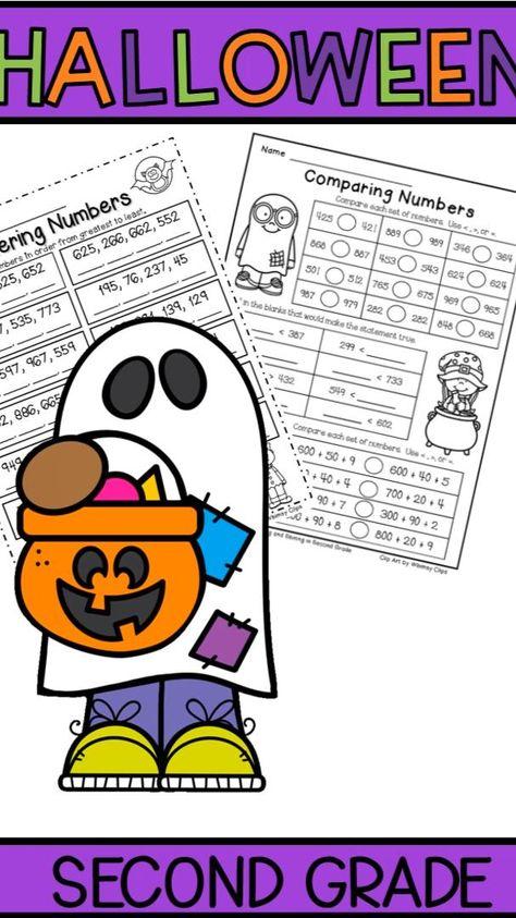 FREE 2nd Grade Halloween Math Worksheets