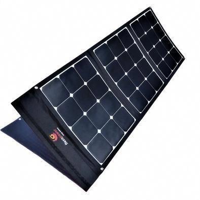 100w Foldable Solar Panel Included In Flexopower Baja Portable Solar Panel Kit Shown Deployed And Angled Tow Solar Panels Solar Energy Panels Best Solar Panels