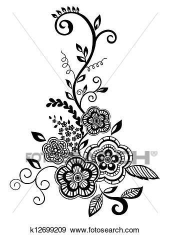 Beautiful Floral Element Black And White Flowers And Leaves Design Element With Imitation Guipure Embroidery Clip Art K12699209 Floral Embroidery Patterns Lace Stencil Black And White Flowers