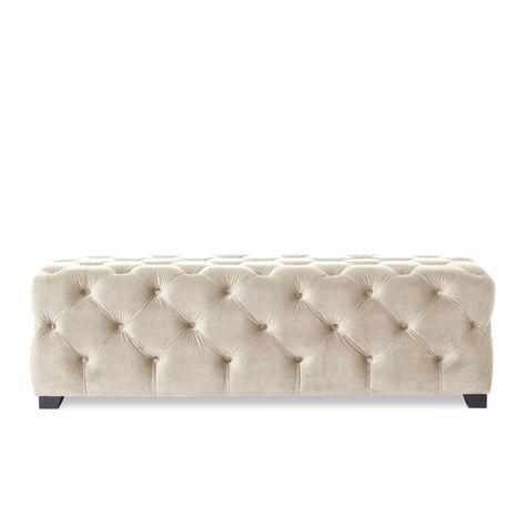 Strange Piper Tufted Velvet Fabric Rectangle Ottoman Bench By Inzonedesignstudio Interior Chair Design Inzonedesignstudiocom
