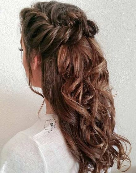 22 Hottest Curly Fishtail Braid Half Updo For Long Hair Bridesmaid Hair Braid Bridesmaid Hair Long Braided Half Updo