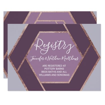 Violet Lilac Purple Rose Gold Hexagon Registry Card Wedding