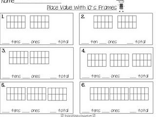 Place Value with 10's frame printable/game idea
