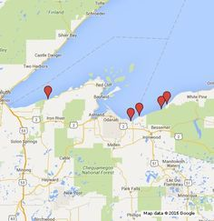 Wisconsin Travel Road Map of South Shore Lake Superior Travel