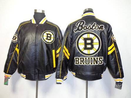 Mens Boston Bruins Ice Hockey Jacket Real Embroidery And Pu Material Size M Xxxl Jackets Black Leather Jacket Nhl Jerseys