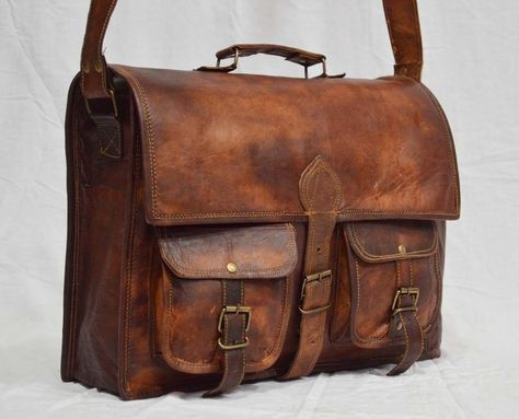 Vintage Full Grain Leather Leather Briefcase Laptop Bag L40 Dark Brown