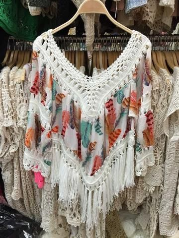 bf5f56ff29 Boho Crochet Feather-Print Fringe Tassel Summer Top/Beach Cover Up One Size -Loluxe