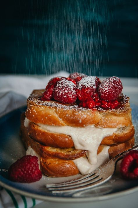 Vegan French Toast - Stuffed with Cashew Cream and Raspberries