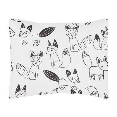 Fox Print Fitted Crib Or Toddler Sheet For Sweet Jojo Black /& White Fox Bedding