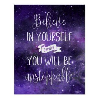 #Believe In Yourself Quote Poster #Purple ad