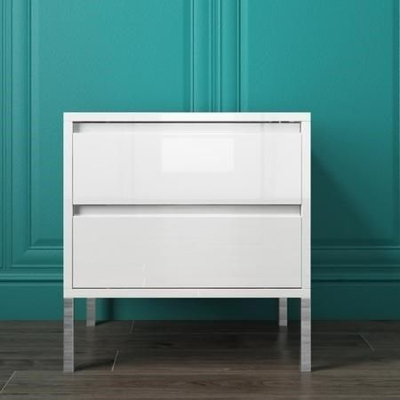 Small White High Gloss Bedside Table