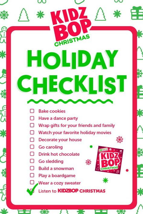 Kidz Bop Christmas Is Here Featuring 25 Holiday Hits Including All I Want For Christmas Is Yo Holiday Checklist Family Christmas Christmas Fun