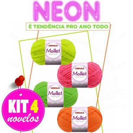 87c644214 Kit Lã Mollet Neon 100g - 4 Novelos | Produtos Crochê / Tricô ...