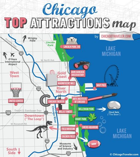 Chicago Miracle Mile Shopping Map Printable Chicago Tourist Map for Top Attractions