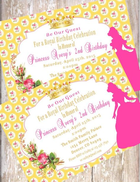 a97a4bf24af Beauty and the Beast Birthday Invitations Printed With Envelopes-15 Disney  Princess Belle Baby showe