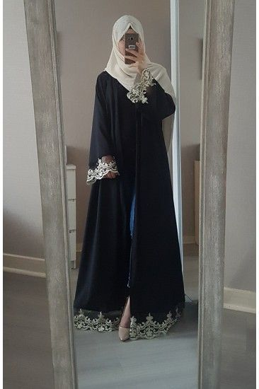 Abaya with gold lace Length : Suitable for all body type Sold with belt FREE SIZE
