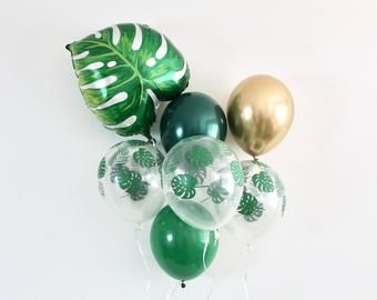 Palm Leaf Chrome Gold 11 inch Latex Balloons~Leaf Balloon~Wild One Party~Jungle Party~Aloha Party~Leaf Decor~Tropical Party Forest Green