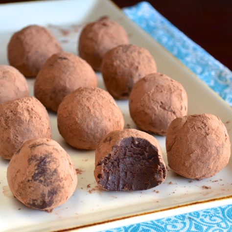 These are absolutely insane! Dark Chocolate Avocado Truffles. You can't taste the avocado at all and it makes these so creamy and decadent tasting!