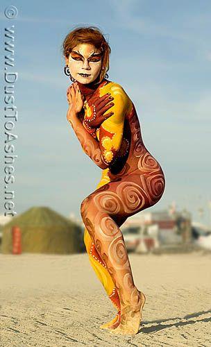 Girlfriend nude burning girl man body paint