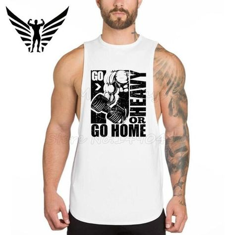1f41532d607791 Muscleguys Brand Go Heavy Or Go Home Design Bodybuilding Clothing ...
