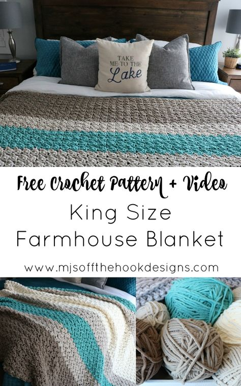 afghan patterns Free Pattern to crochet a king size Farmhouse Blanket! As many of you know my house is full of cozy crochet blankets! We have many favourites but nothing beats the soft Basic Crochet Stitches, Afghan Crochet Patterns, Crochet Basics, Knitting Patterns, Crochet Afghans, Baby Afghans, Crotchet For Beginners, Free Easy Crochet Patterns, Crochet Bedspread Pattern