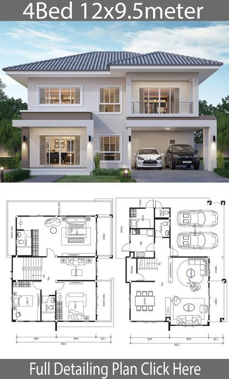 House Design Plan 12 9 5m With 4 Bedrooms Home Ideas Architectural House Plans 4 Bedroom House Designs 2 Storey House Design