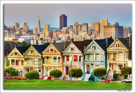 The Painted Ladies ~ Victorian homes in San Francisco, California USA