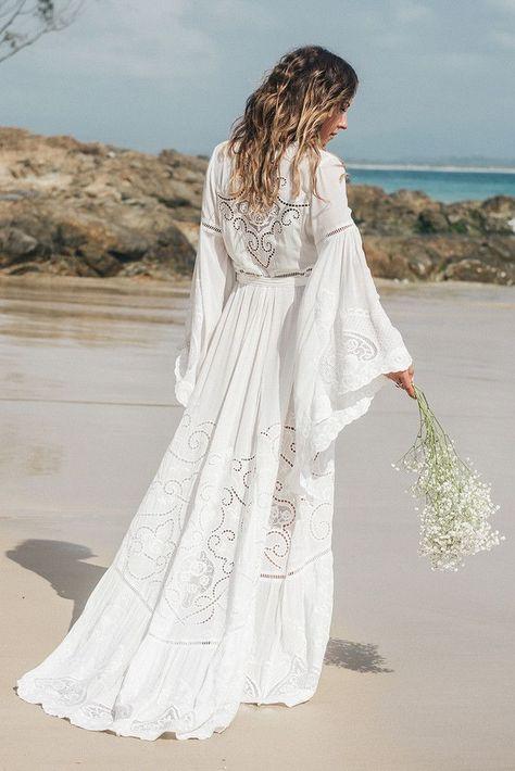 The bohemian Gwendolyn wrap wedding dress from Spell