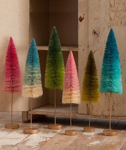 Lowes Christmas Decorations 2019 Jewel Tone Ombre Bottle Brush Trees | holidays | Bottle brush