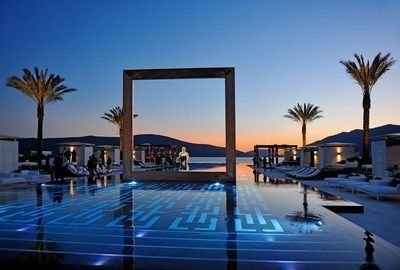 Poolandspa.com Purobeach Porto Montenegro's pool which sits in Montenegro's dramatic Bay of Kotor