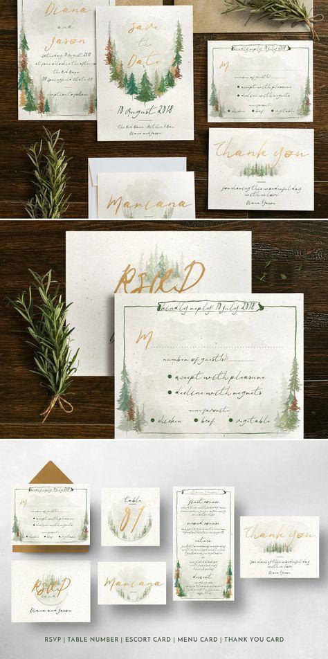 Watercolor Forest Wedding Suite Design PSD