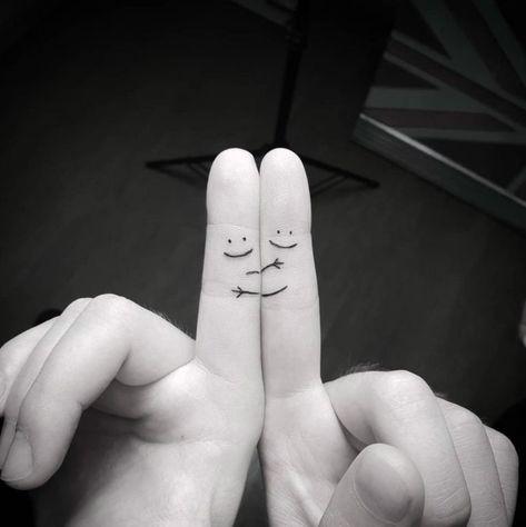 Best friend finger tattoos by Srecko Zivkovic