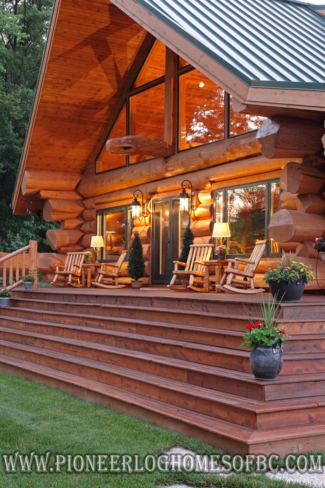Log cabin porches and decks and i need a porch like this some day < Log Cabin Living, Log Cabin Homes, Log Cabins, Log Cabin Bedrooms, Western Bedrooms, Rustic Bedrooms, Log Cabin Furniture, Western Furniture, Wood Furniture
