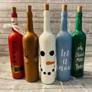 Snowman Wine Bottle Decoration With Lights Winter Snowman Etsy Wine Bottle Crafts Christmas Wine Bottle Christmas Tree Christmas Wine Bottles