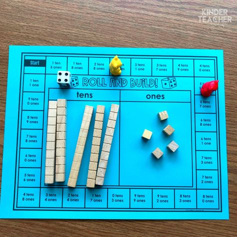 Place Value Math Centers - A Kinderteacher Life Place Value Math Center activities to teach students how to write, model and draw numbers using tens and ones. Math Board Games, Math Boards, Math Games, Bulletin Boards, Math Place Value, Place Values, Math Stations, Math Centers, Math Resources