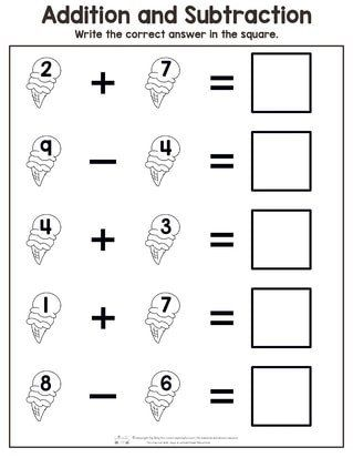Math Worksheets Addition And Subtraction Summer Addition And S Subtraction Worksheets Kindergarten Subtraction Worksheets Kindergarten Math Worksheets Addition