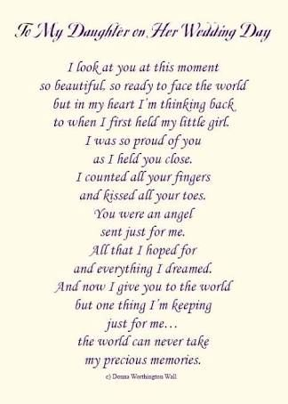 Image Result For Words From Mother To Daughter On Her Wedding Day Poem To My Daughter Daughter Wedding Gifts Daughter Poems