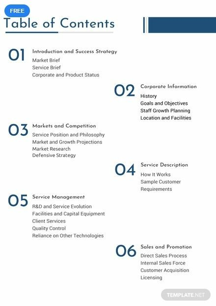 Free Business Plan Table Of Contents Table Of Contents Template