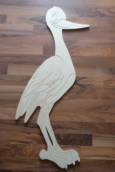 Storch Geburt Holz//Wetterfest aus Holz
