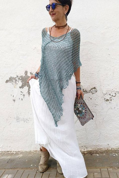 Summer coverup poncho women summer poncho blue summer