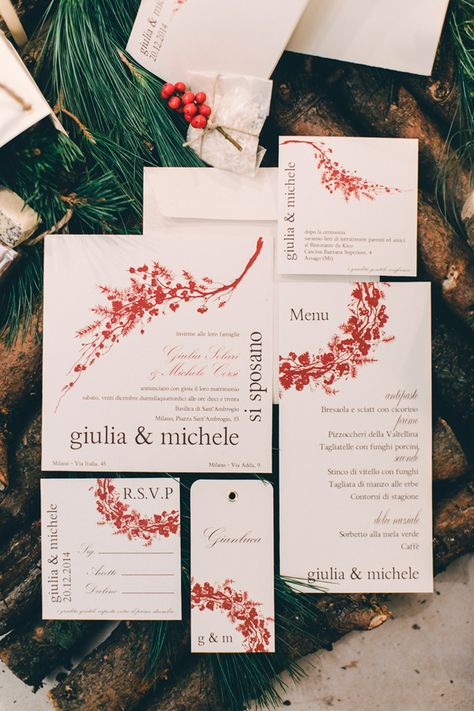 holiday themed invitations, photo by Sara D'Ambra Photography http://ruffledblog.com/an-italian-christmas-wedding-scene #weddinginvitations #stationery