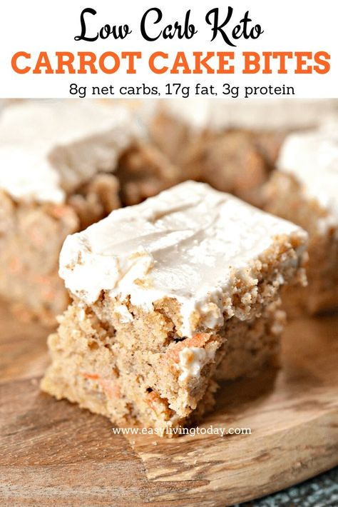 This low carb keto carrot cake recipe is only 8g net carbs and tastes just like the real thing! Perfect spring treat and a great Easter dessert. #lowcarb #ketodessert #ketorecipes via @easylivingtoday