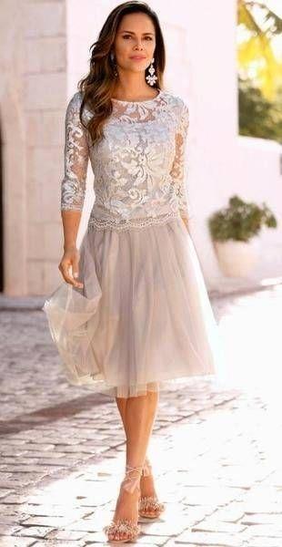 Kleider Fur Die Brautmutter Mutter Der Braut Tullkleid Mit Spitze Und Dreiviertel Illusionsarmeln Mutter Der Braut Kleider Kleider Hochzeit Mutter Kleider