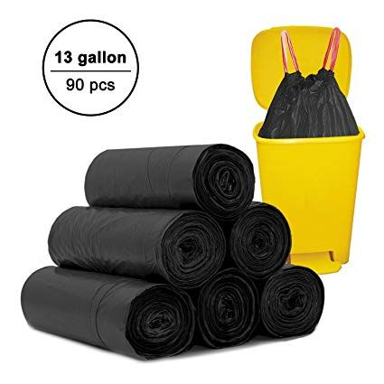 Tall Kitchen Drawstring Trash Bags Topgalaxy Z 13 Gallon Garbage Bags For Home Kitchen Office Bathroom W Trash Bags Kitchen Trash Cans Bathroom Waste Bins