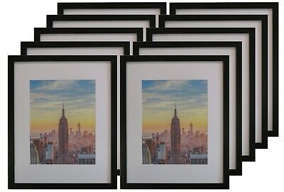 Details About Frame Amo 16x20 Black Picture Frame 1 Inch Border 11x14 White Mat 1 3 10 Pack Picture On Wood Wood Picture Frames Black Picture Frames