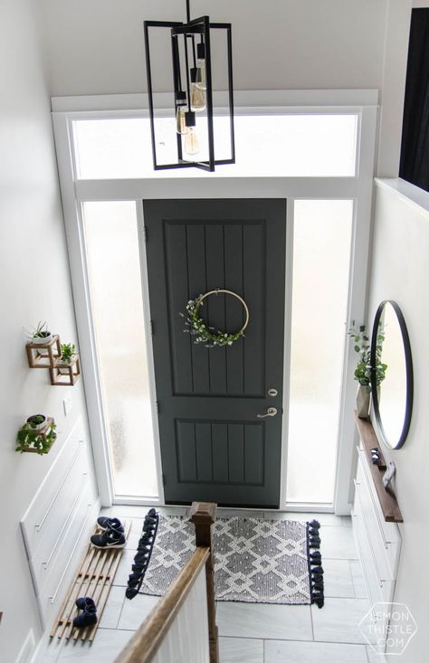 DIY Split Level Entry Makeover- I LOVE this entry. The oversize door, scandi inf… DIY Split Level Entry Makeover- I LOVE this entry. Home Renovation, Split Level Entryway, Split Foyer Entry, Split Level Home, Split Level Exterior, Split Entry Remodel Exterior, Split Level Kitchen, Entry Foyer, Bi Level Homes